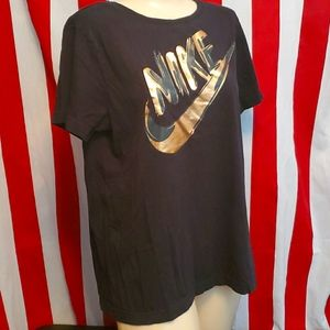 Nike Gold Letter 100% Cotton Ladies L Tee